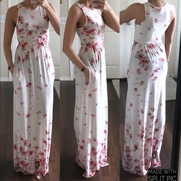 7e0a0f4d68 eloges Dresses & Skirts - éloges white pink floral cherry blossom maxi dress